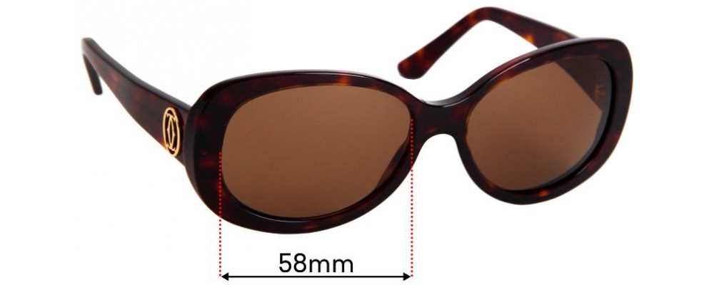 Sunglass Fix Replacement Lenses for Cartier 5087458 - 58mm Wide