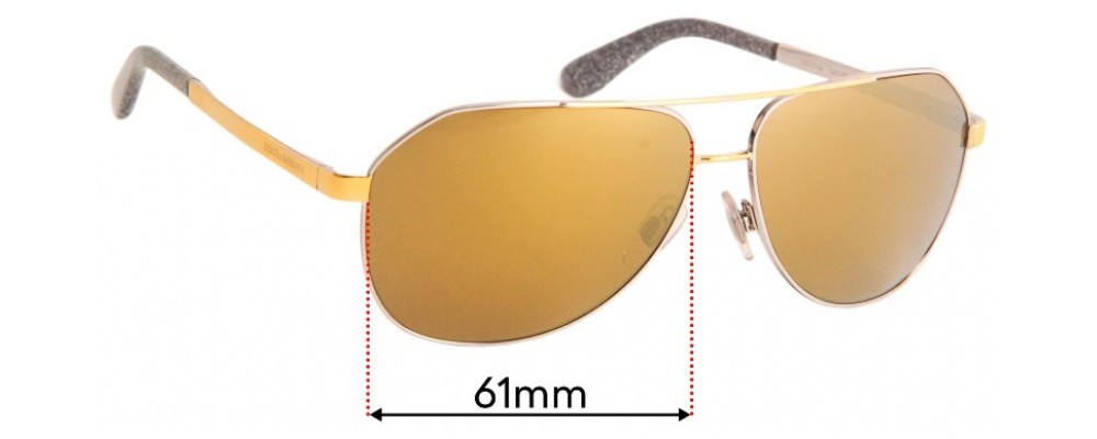 Dolce & Gabbana DG2144 Replacement Sunglass Lenses - 61mm wide