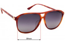 Sunglass Fix Replacement Lenses for Gucci GG 0016SA - 59mm wide