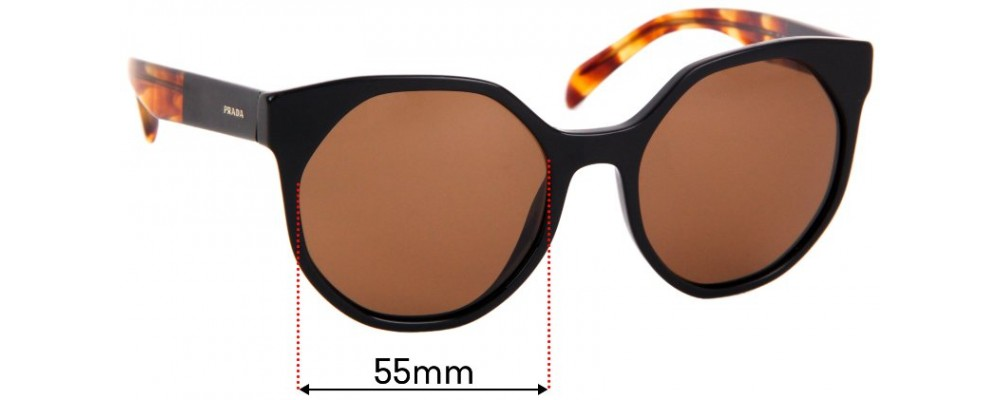 Sunglass Fix Replacement Lenses for Prada SPR11T - 55mm wide