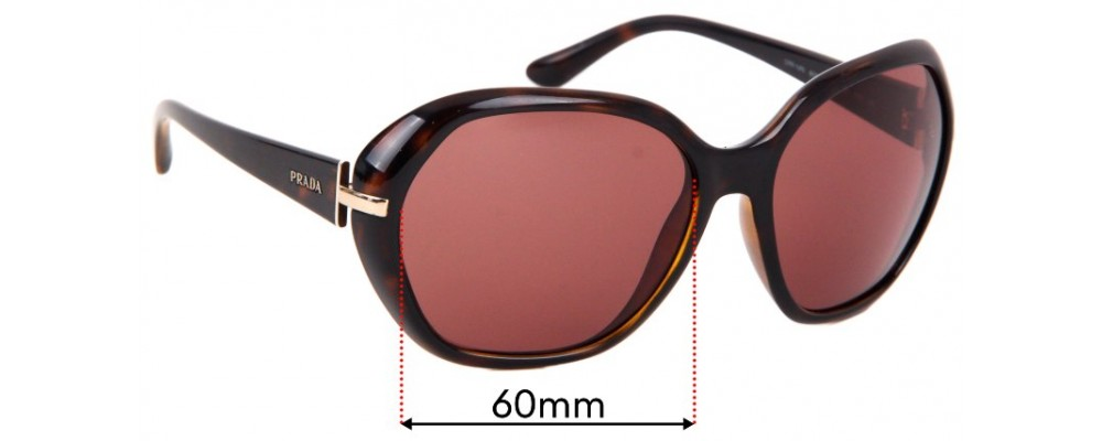 Sunglass Fix Replacement Lenses for Prada SPR14N - 60mm wide