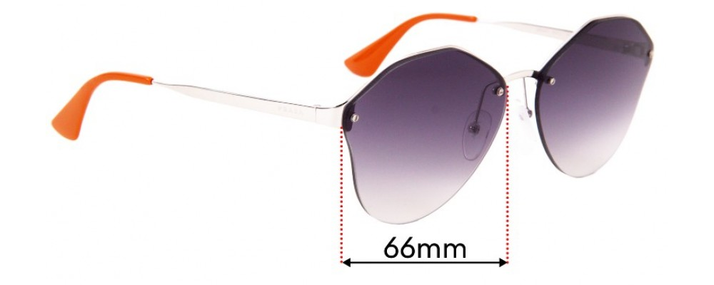 Sunglass Fix Replacement Lenses for Prada SPR 64T - 66mm Wide