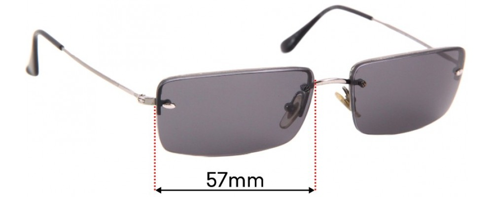 Ray Ban RB3199 Rimless Rectangle Replacement Sunglass Lenses - 57mm across