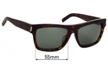 Saint Laurent Bold 5 Replacement Sunglass Lenses - 55mm Wide