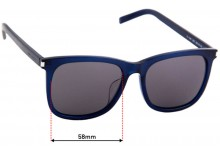 Saint Laurent SL 116/k Replacement Sunglass Lenses - 58mm wide
