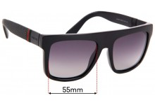 Sunglass Fix Replacement Lenses for Gucci GG1116/S - 55mm Wide