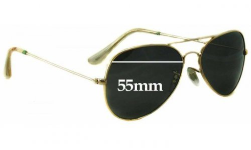 Sunglass Fix Replacement Lenses for Ray Ban Aviators RB3025 Bausch Lomb Large Metal - 55mm across