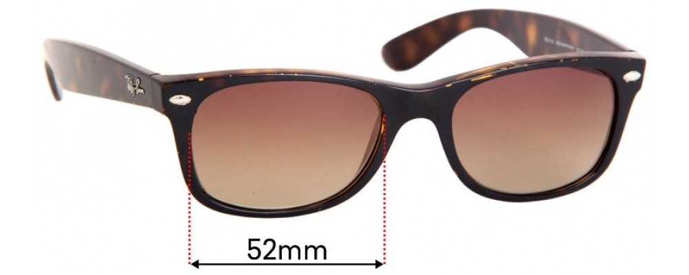 Sunglass Fix Replacement Lenses for Ray Ban RB2132 New Wayfarer 52mm wide x 39mm high
