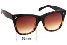 Celine CL 41090/S Replacement Sunglass Lenses - 55mm Wide