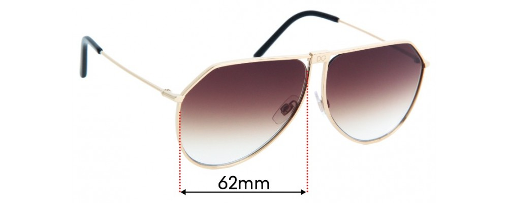 Dolce & Gabbana DG2248 Replacement Lenses - 62mm Wide