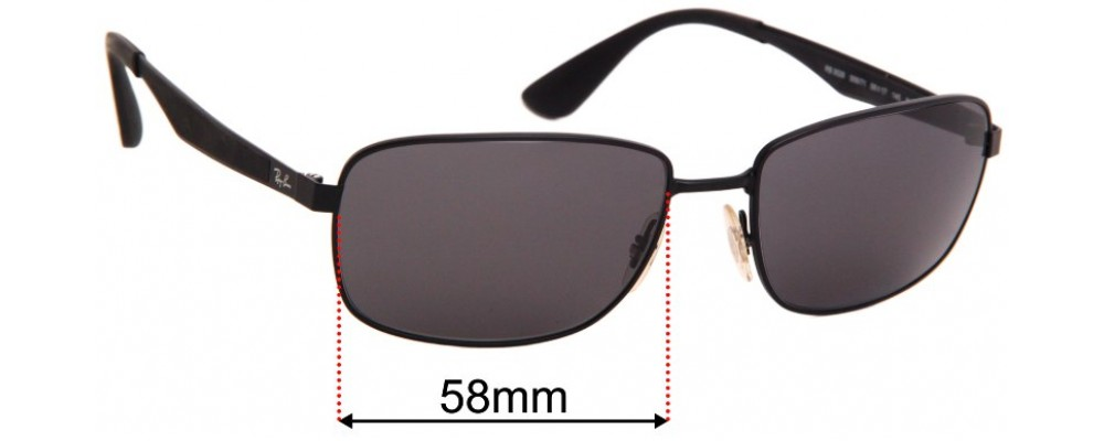 Ray Ban RB3529 Replacement Sunglass Lenses - 58mm wide
