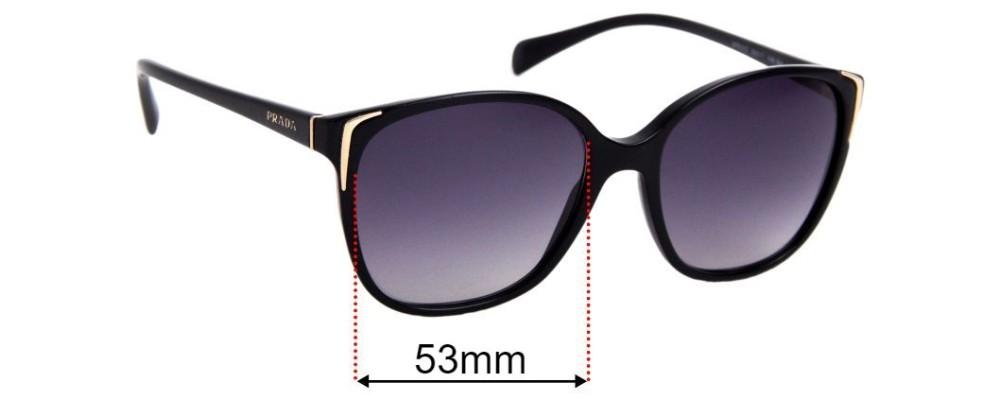 Prada SPR01O Replacement Sunglass Lenses - 53mm wide