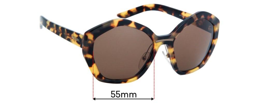 Prada SPR08X Sunglass Replacement Lenses - 55mm Wide