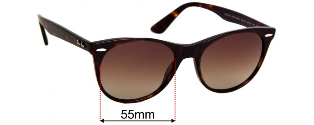Sunglass Fix Replacement Lenses for Ray Ban RB2185 Wayfarer II - 55mm wide