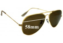 Sunglass Fix Replacement Lenses for Ray Ban Aviators Bausch Lomb RB3025 - 58mm across