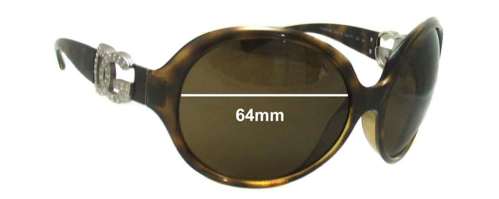 Dolce & Gabbana DG6030 Replacement Sunglass Lenses- 64mm Wide