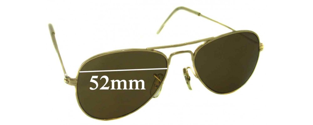 Sunglass Fix Replacement Lenses for Ray Ban Aviators Bausch Lomb USA 52mm Wide