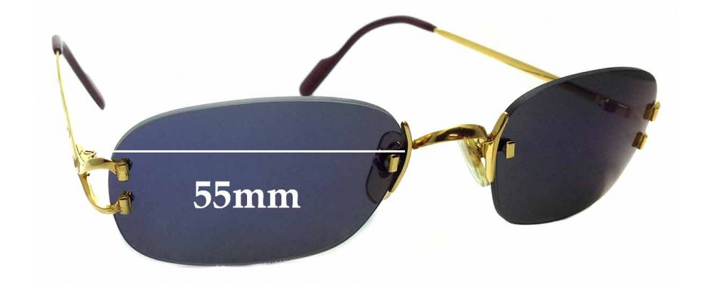 Sunglass Fix Replacement Lenses for Cartier 1715431 - 55mm wide
