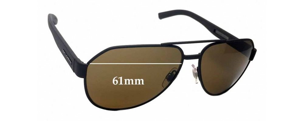 8c0da2228ac1 Dolce   Gabbana DG 2149 Replacement Sunglass Lenses - 61mm wide