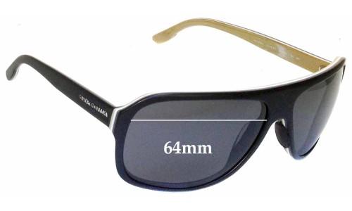 Dolce & Gabbana DG 4084 Replacement Sunglass Lenses - 64mm wide