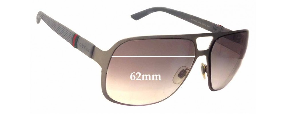 31a02a65ff3 Gucci GG2253 S Replacement Sunglass Lenses - 62mm Wide