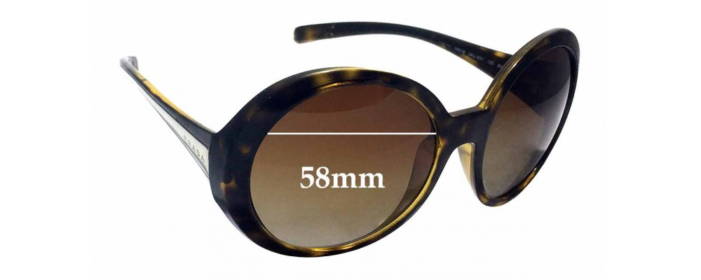 Prada SPR21L Replacement Sunglass Lenses - 58mm wide