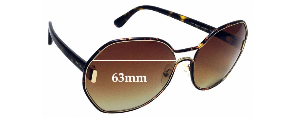 Sunglass Fix Replacement Lenses for Prada SPR53T - 63mm wide