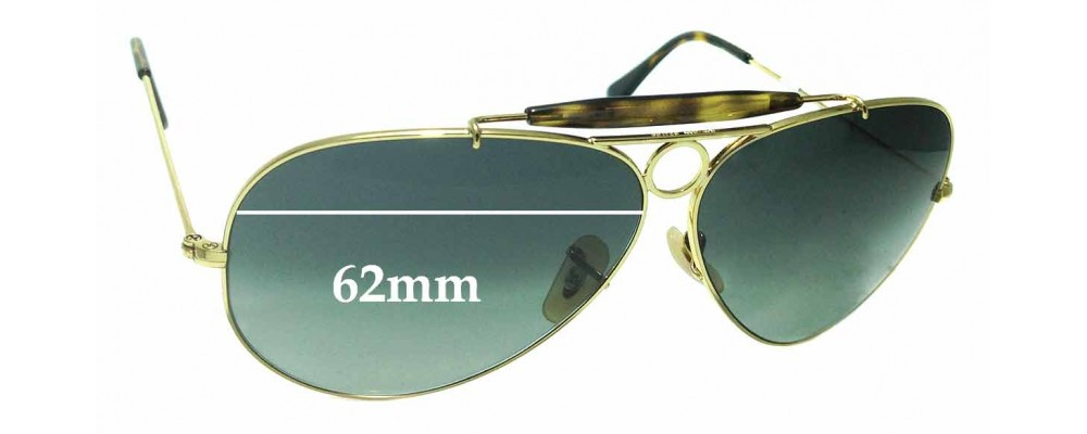 38717d98ab Sunglass Fix Replacement Lenses for Ray Ban Aviator RB3138 Shooter - 62mm  wide