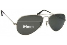 Sunglass Fix Replacement Lenses for B&L Ray Ban RB3025 - 64mm wide