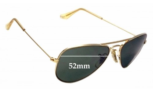 Sunglass Fix Replacement Lenses for Ray Ban Aviators Bausch Lomb USA W1878 - 52mm Wide