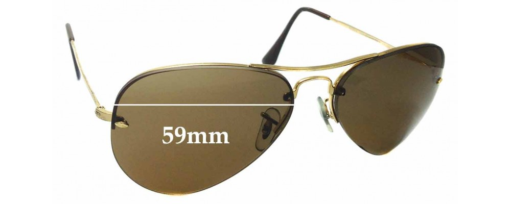Sunglass Fix Replacement Lenses for Ray Ban RB3214 Rimless Aviator 59mm wide