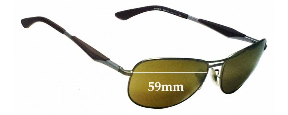 66a18ff3ad249 Ray Ban RB3519 Replacement Sunglass Lenses - 59mm wide
