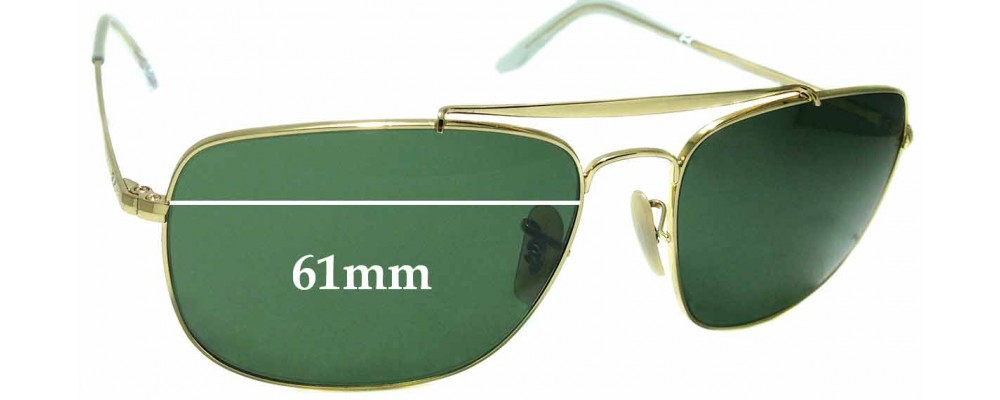 9d53925f6fa4 Sunglass Fix Replacement Lenses for Ray Ban RB3560 The Colonel - 61mm Wide