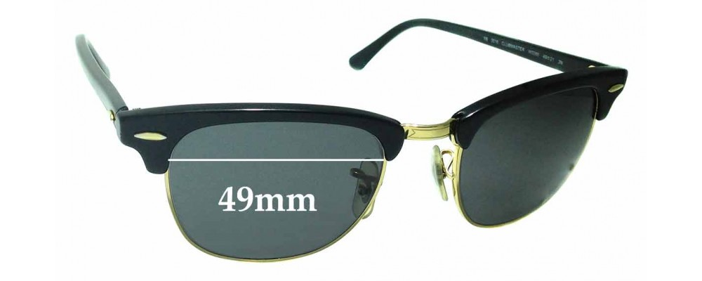 Ray Ban WO365 RB3016 Clubmaster Replacement Sunglass Lenses - 49mm Wide