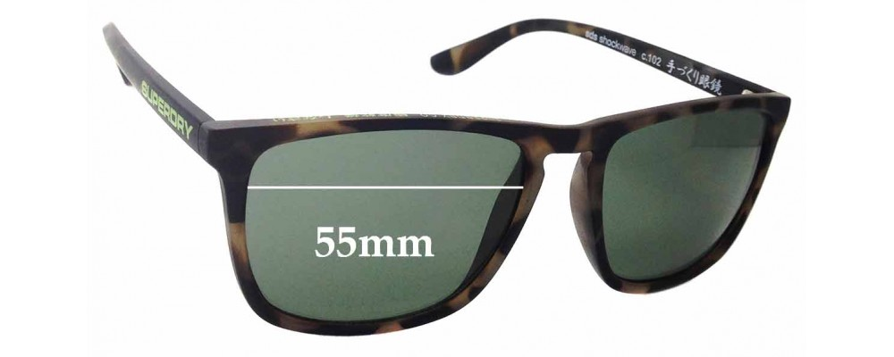 Sunglass Fix New Replacement Lenses for Superdry Shockwave - 55mm Wide
