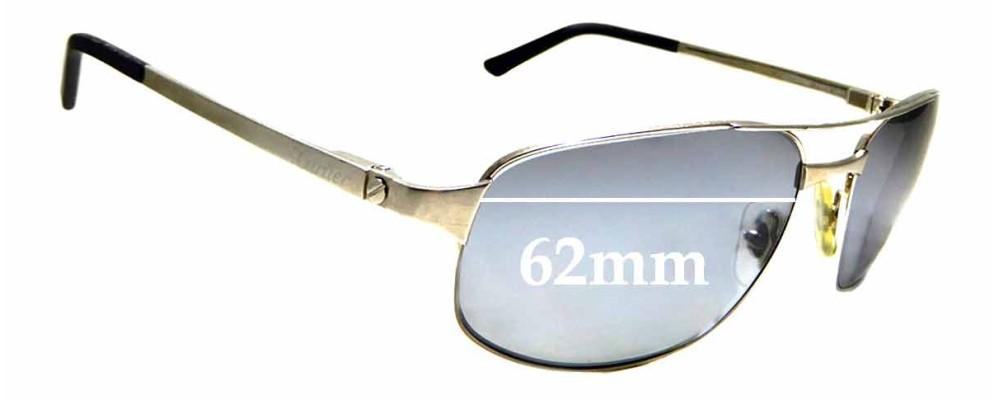 Sunglass Fix Replacement Lenses for Cartier 3598246 - 62mm wide