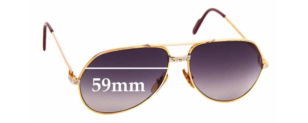 Sunglass Fix Replacement Lenses for Cartier Santos Aviator Vermeil - 59mm wide