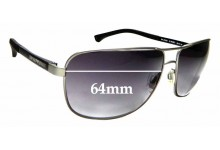 Sunglass Fix Replacement Lenses for Emporio Armani  EA2033 - 64mm Wide