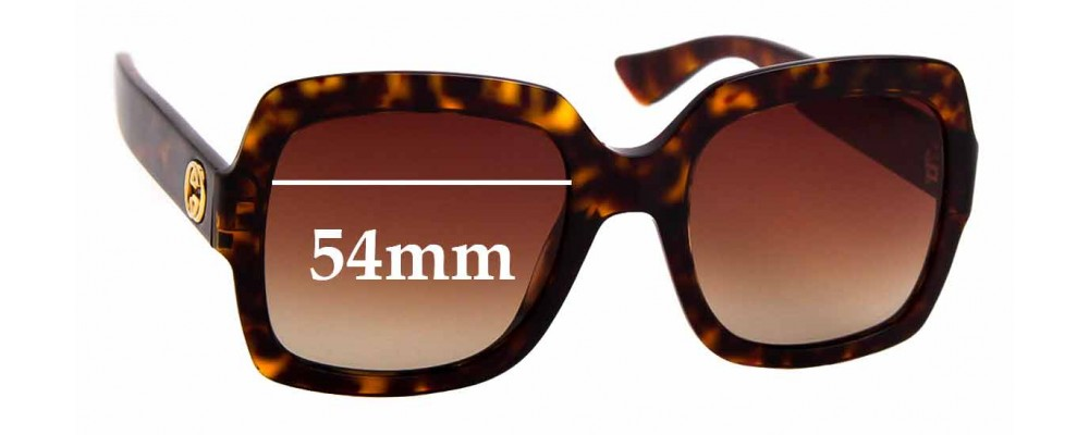 Sunglass Fix Replacement Lenses for Gucci GG0036S -  54mm wide