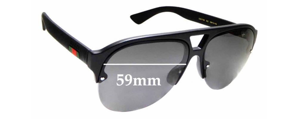 Sunglass Fix Replacement Lenses for Gucci GG0170S - 59mm wide