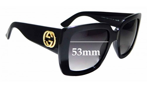Sunglass Fix Replacement Lenses for Gucci GG 3814/S- 53mm wide