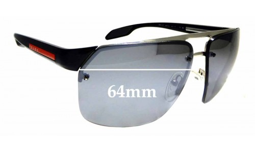 Sunglass Fix Replacement Lenses for Prada SPS 57O - 64mm wide