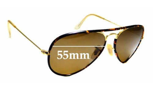 Sunglass Fix Replacement Lenses for Ray Ban Aviator RB3025 J-M - 55mm wide