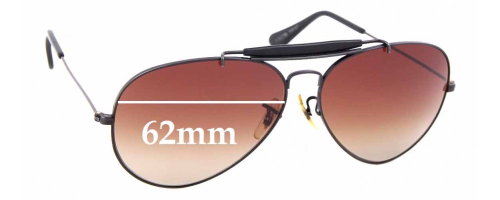 Sunglass Fix Replacement Lenses for Ray Ban Aviators B&L - 62mm Wide