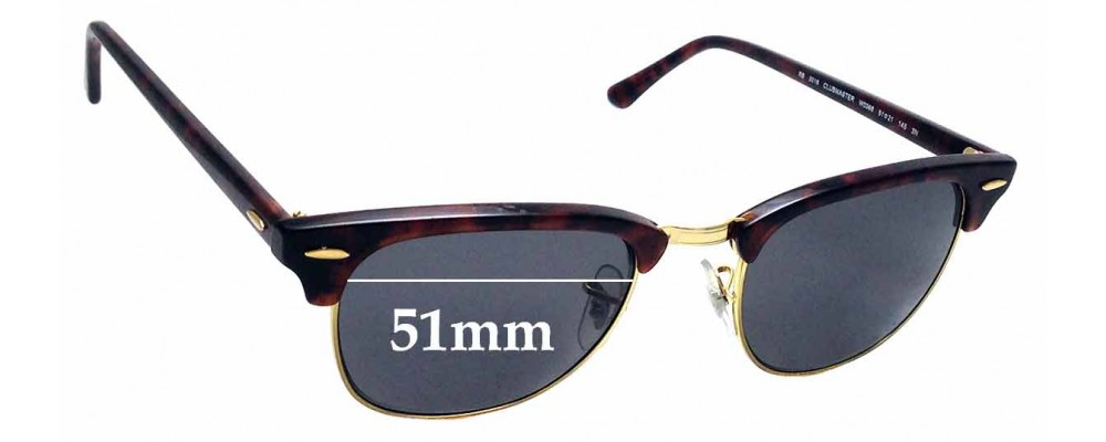 Sunglass Fix Replacement Lenses for Ray Ban WO366 RB3016 Clubmaster - 51mm Wide