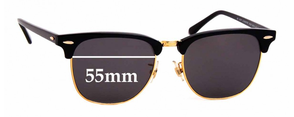Sunglass Fix Replacement Lenses for Ray Ban RB3016F Clubmaster - 55mm Wide