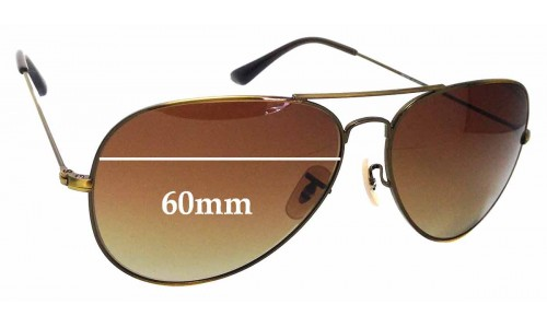 Sunglass Fix Replacement Lenses for Ray Ban Aviators RB3026 - 60mm wide