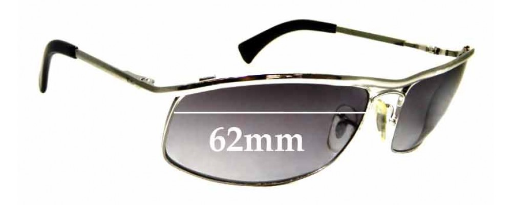 Sunglass Fix Replacement Lenses for Ray Ban RB3339 - 62mm wide