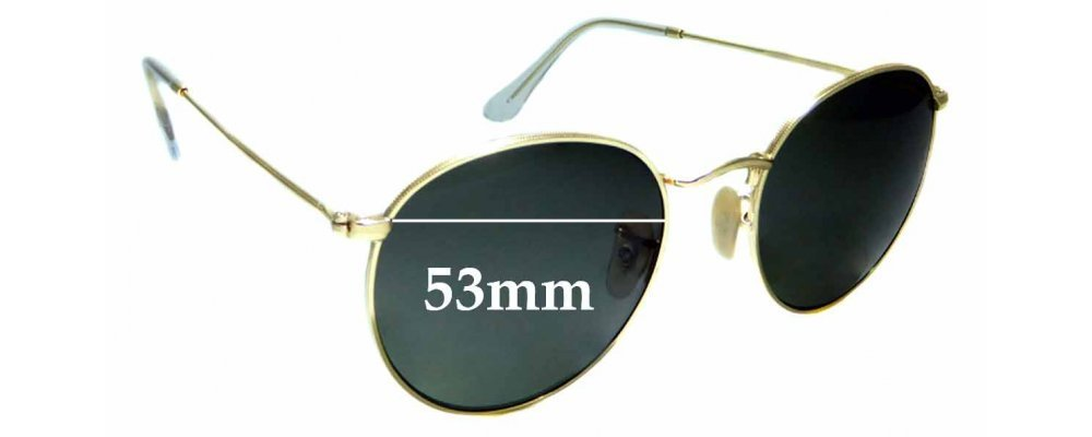 Sunglass Fix Replacement Lenses for Ray Ban RB3447 Round Metal - 53mm Wide