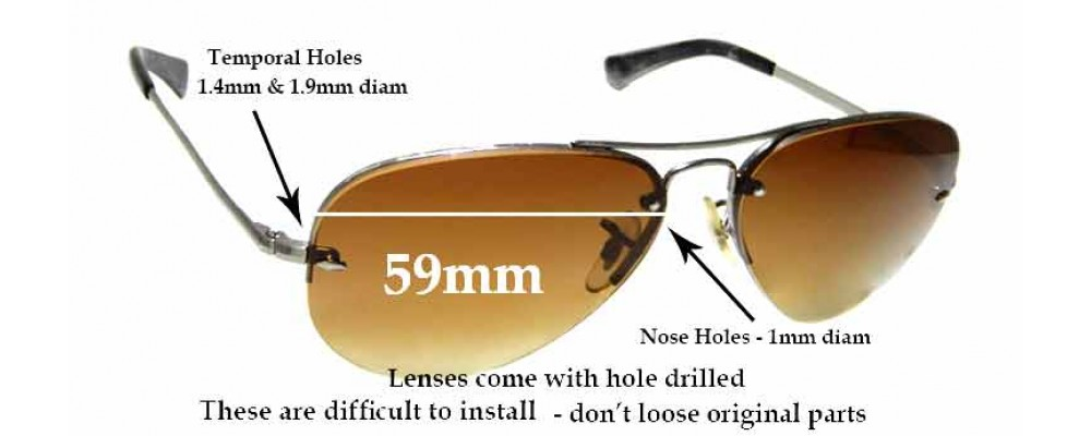 Sunglass Fix Replacement Lenses for Ray Ban Aviators RB3449 - 59mm across **These lenses have a smaller hole on the nose (1mm)**
